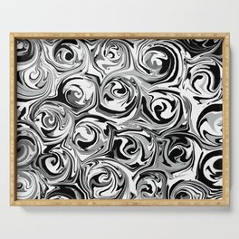 Onyx Black and White Paint Swirls Serving Tray