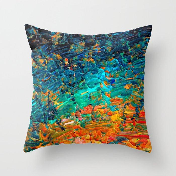 ETERNAL TIDE 2 Rainbow Ombre Ocean Waves Abstract Acrylic Painting Summer Colorful Beach Blue Orange Deko-Kissen