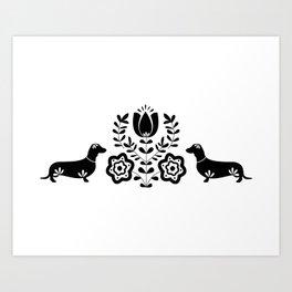 Scananavian Wiener Dogs Art Print
