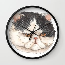 Bacon the Persian - artist Ellie Hoult Wall Clock