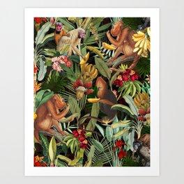 Vintage & Shabby Chic - Black Monkey Banana Jungle Art Print