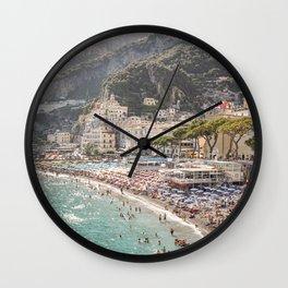 Amalfi Coast Landscape Nature Print   Summer Holiday In Italy Travel Photography Art   Amalfi Village Beach In Soft Colors Photo Wall Clock