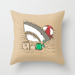 Sandy Beach Shark Throw Pillow