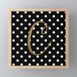 "Retro Black + White Polka Dot + Faux Gold Foil ""C"" Monogram Framed Mini Art Print"