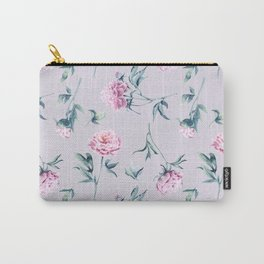 Delicate watercolor peonies seamless pattern on a pink background Carry-All Pouch