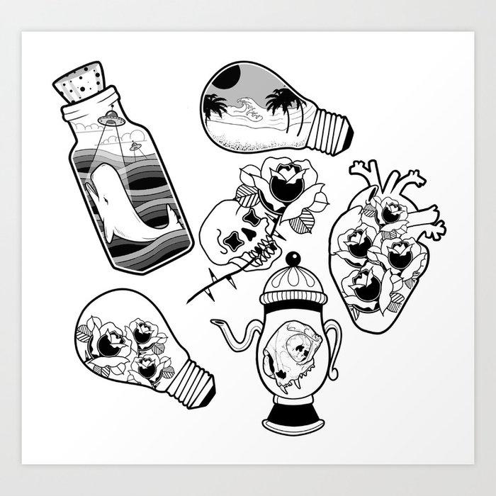 Tattoo Flash Art Black And White Guitar: Traditional Tattoo Flash Art Print By Rbettz