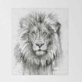 Lion Watercolor Throw Blanket