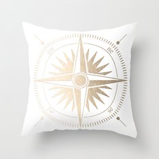 Gold on White Compass Throw Pillow
