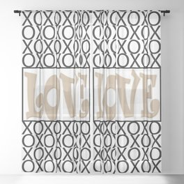Pantone Hazelnut LOVE XOs (Hugs and Kisses) Typography Art Sheer Curtain