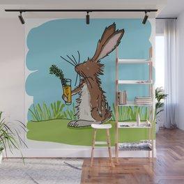 Oscar the rabbit loves carrot cocktail Wall Mural