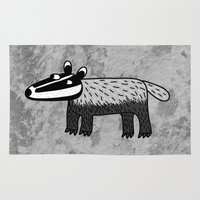 badger Area & Throw Rugs featuring Badger by Nic Squirrell