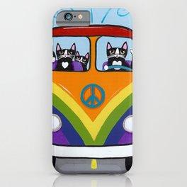 Rainbow Love Bus Cats iPhone Case