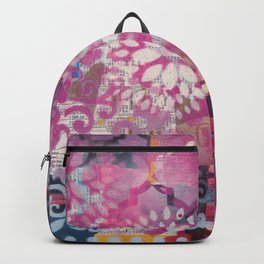 Mixed Media Layered Patterns - Deep Fuchsia Backpack