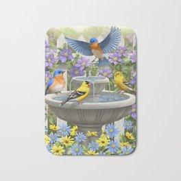 Bird Fountain Flower Garden Gathering Bath Mat
