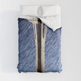 Seattle Space Needle rainy Night Comforters