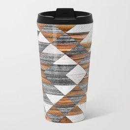 Urban Tribal Pattern 12 - Aztec - Wood Metal Travel Mug