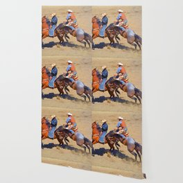 The Saddle Bronc and the Pickup Man - Rodeo Art Wallpaper