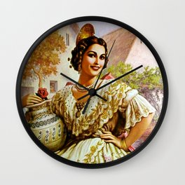 Mexican Calendar Girl in Embroidered Dress by Jesus Helguera Wall Clock