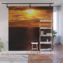 Golden Sunset on the Sea Wall Mural