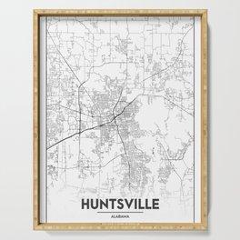 Minimal City Maps - Map Of Huntsville, Alabama, United States Serving Tray
