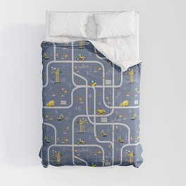 Under Construction Digger Vehicles Blue Pattern Comforters