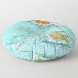 Long Beach colorful old map Floor Pillow