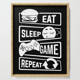 Eat Sleep Game Repeat | Video Game Console Gaming Serving Tray