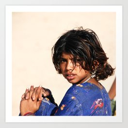 Girl in the Thar Desert Art Print
