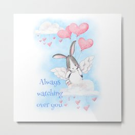Bunny angel always watching over you  Metal Print