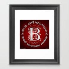 Joshua 24:15 - (Silver on Red) Monogram B Framed Art Print
