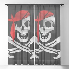 Jolly Roger pirate waving flag with skull and swords with red bandana on a silk drape  Sheer Curtain