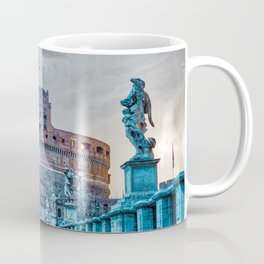 Sunrise over Ponte Sant'Angelo and Castel Sant'Angelo in Rome, Italy Coffee Mug