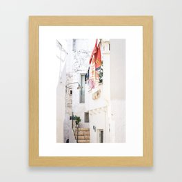 Laundry day in Puglia Framed Art Print