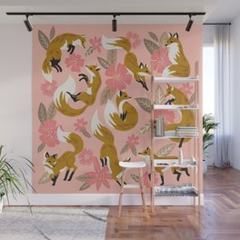 Foxes & Blooms – Pink & Caramel Wall Mural