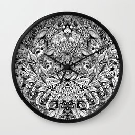Summer Foliage, Black and White Wall Clock