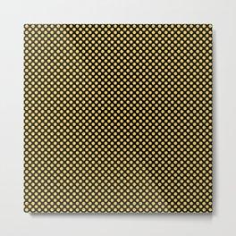 Black and Primrose Yellow Polka Dots Metal Print