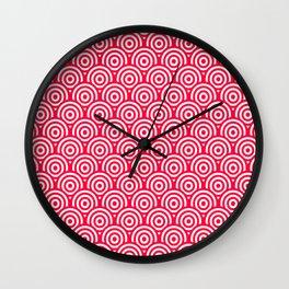 Red/Pink & White Geometric Circle Pattern Wall Clock