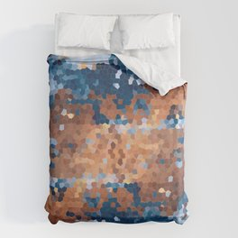 Copper and Denim Abstract Duvet Cover