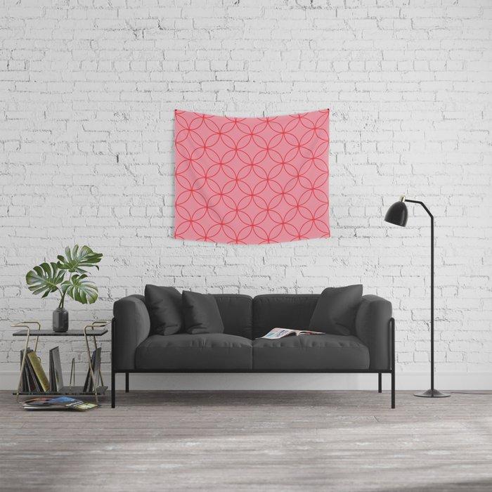 Moorish Circles - Pink & Red Wall Tapestry