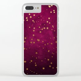 Fuchsia Gold Stars Clear iPhone Case