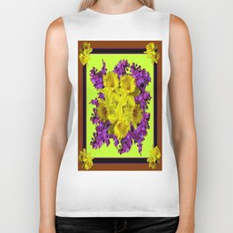 Chartreuse Design Daffodils Purple Hyacinths Brown Art Biker Tank