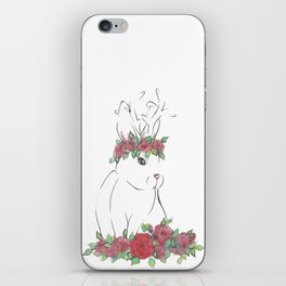 Hand drawn bunny with flowers iPhone Skin