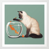 ashton irwin Art Prints featuring Goldfish need friend by Tummeow