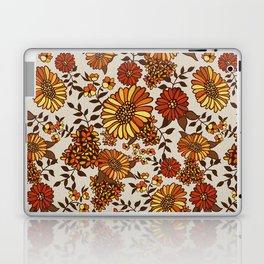 Retro 70s boho hippie orange flower power Laptop & iPad Skin