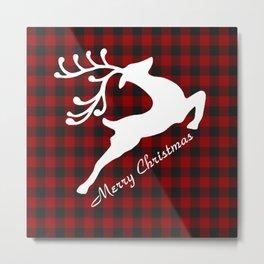 Merry Christmas deer on plaid Metal Print