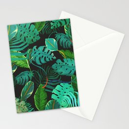 nigth tropical leaves Stationery Cards