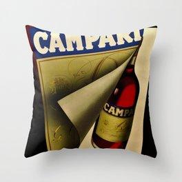 1957 Vintage Bitter Campari Aperitif Advertisement Poster by Carlo Fisanotti Throw Pillow