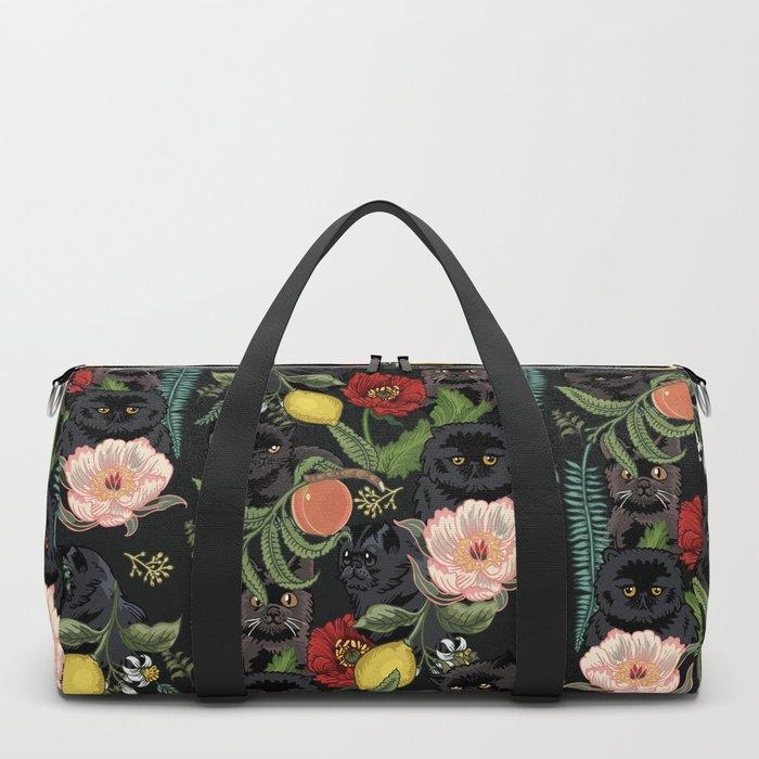Botanical and Black Cats Duffle Bag