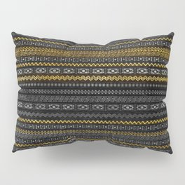 Gold and Silver Tribal Pattern on Black  wood Pillow Sham