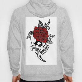 skull and red rose Hoody